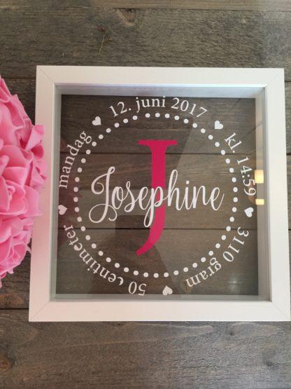 Fødselsramme rosa bokstav med hvit tekst