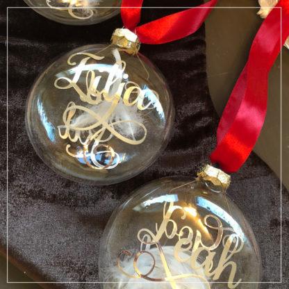 Julekuler I glass med navn i gull