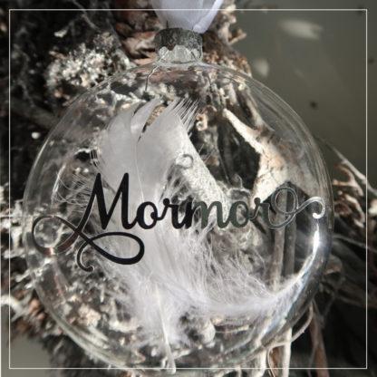 Julekule med sølvskrift Mormor