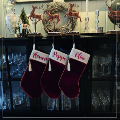 Tre julesokker med navn