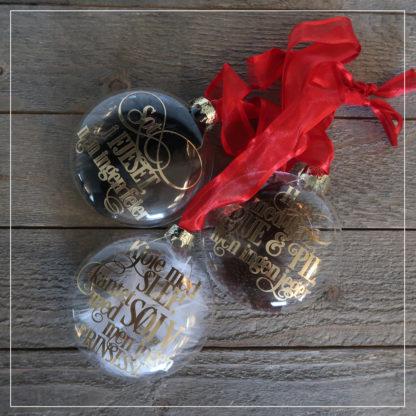Samlebilde tre julekuler