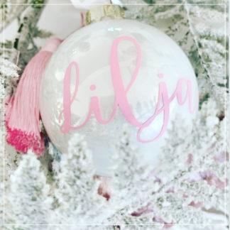 Julekule I glass med navn