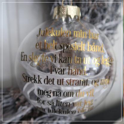 Julekule med koselig tekst om barnets høyde